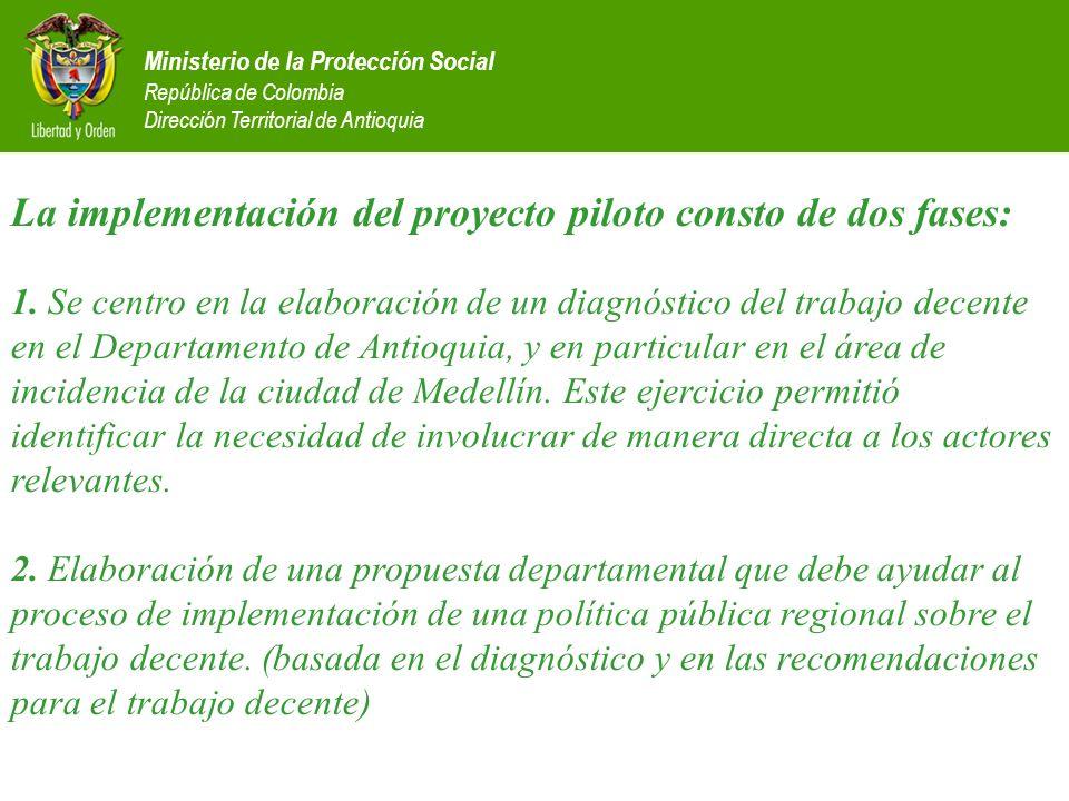 Ministerio de la Protección Social República de Colombia Dirección Territorial de Antioquia La implementación del proyecto piloto consto de dos fases: