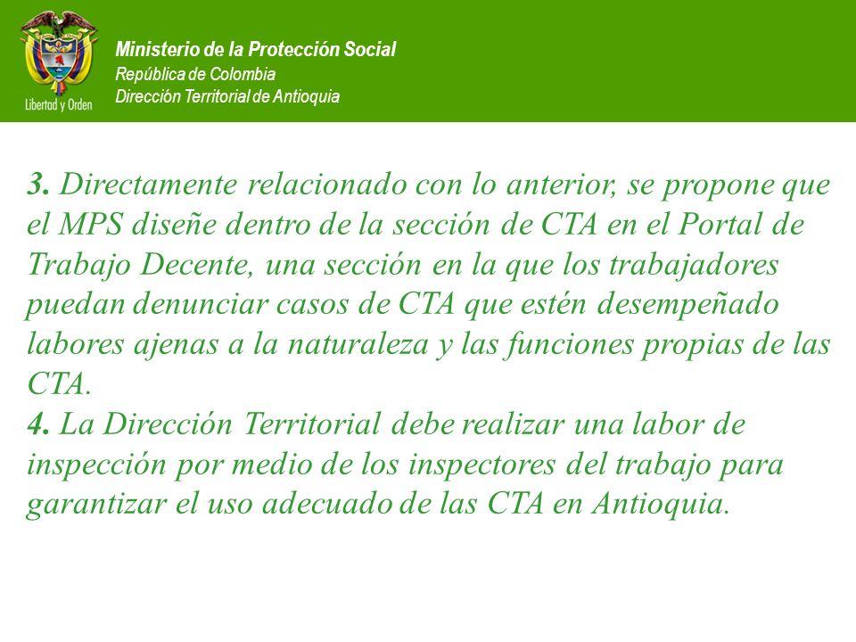 Ministerio de la Protección Social República de Colombia Dirección Territorial de Antioquia 3. Directamente relacionado con lo anterior, se propone qu