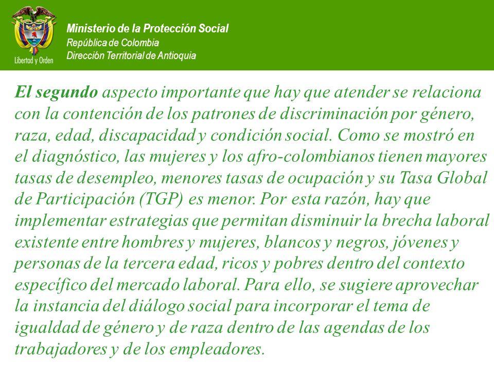 Ministerio de la Protección Social República de Colombia Dirección Territorial de Antioquia El segundo aspecto importante que hay que atender se relac