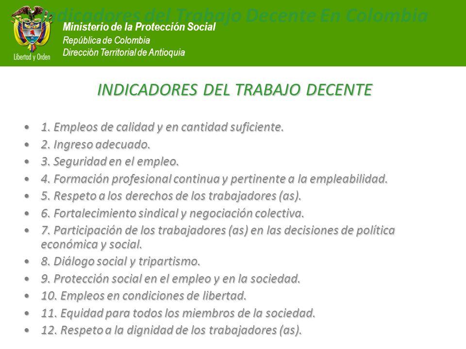 Ministerio de la Protección Social República de Colombia Dirección Territorial de Antioquia Indicadores del Trabajo Decente En Colombia INDICADORES DE