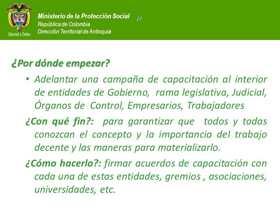 Ministerio de la Protección Social República de Colombia Dirección Territorial de Antioquia ¿ Por dónde empezar? Adelantar una campaña de capacitación