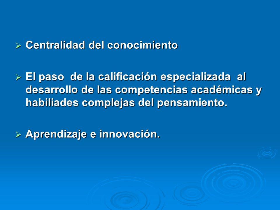 Centralidad del conocimiento Centralidad del conocimiento El paso de la calificación especializada al desarrollo de las competencias académicas y habiliades complejas del pensamiento.