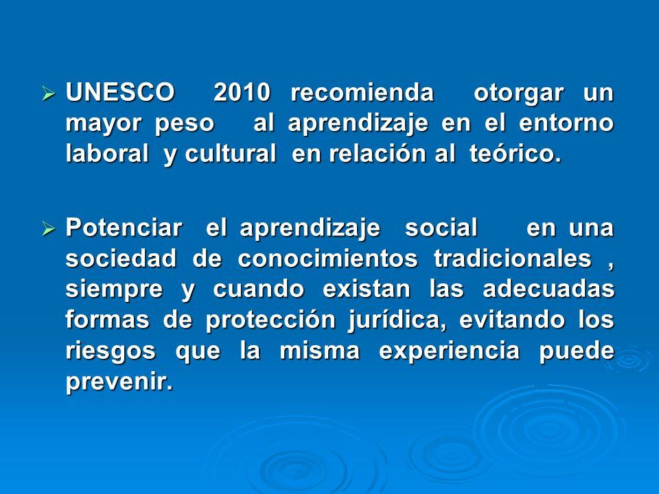 UNESCO 2010 recomienda otorgar un mayor peso al aprendizaje en el entorno laboral y cultural en relación al teórico.