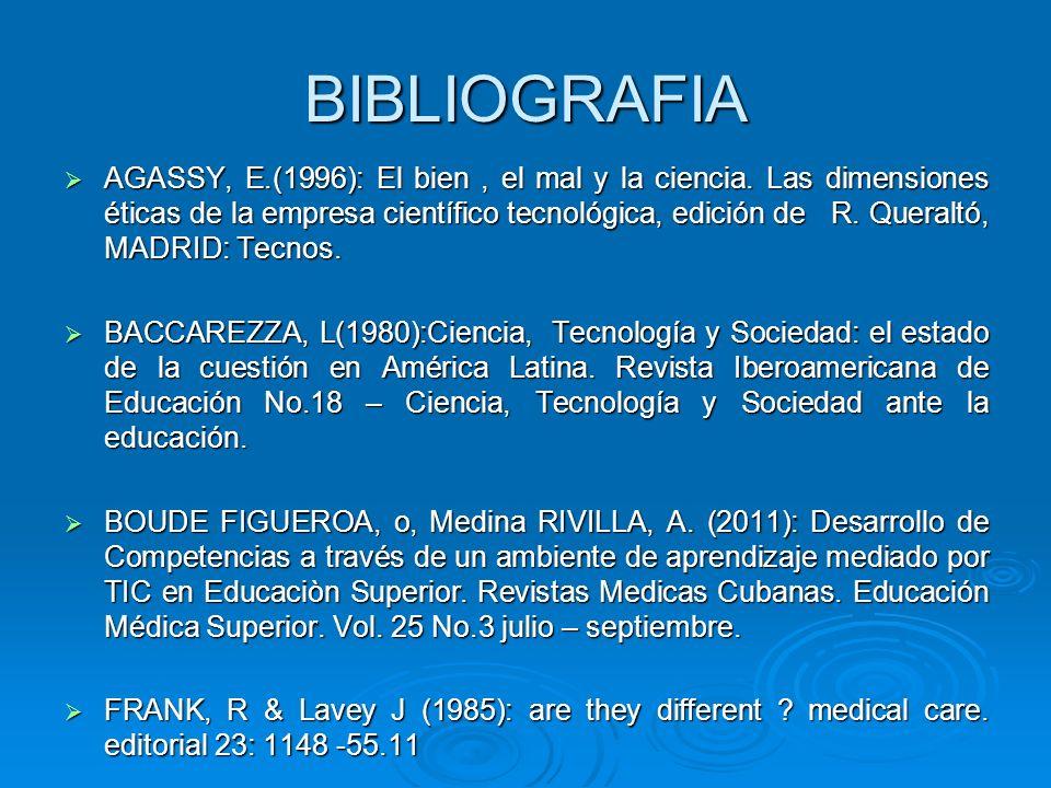 BIBLIOGRAFIA AGASSY, E.(1996): El bien, el mal y la ciencia.