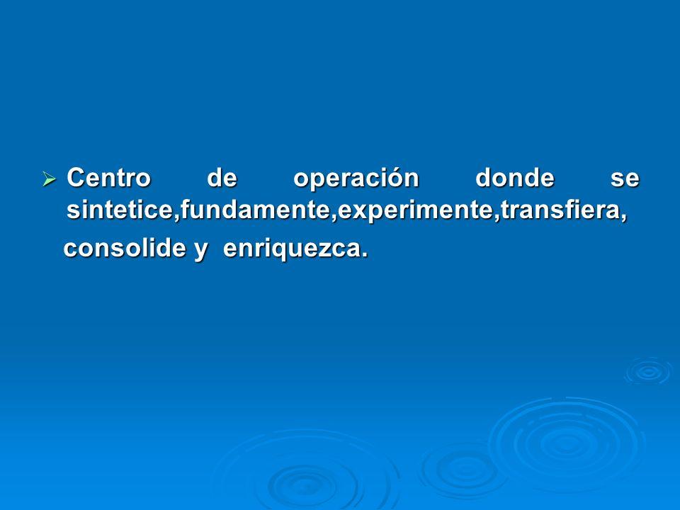 Centro de operación donde se sintetice,fundamente,experimente,transfiera, Centro de operación donde se sintetice,fundamente,experimente,transfiera, consolide y enriquezca.