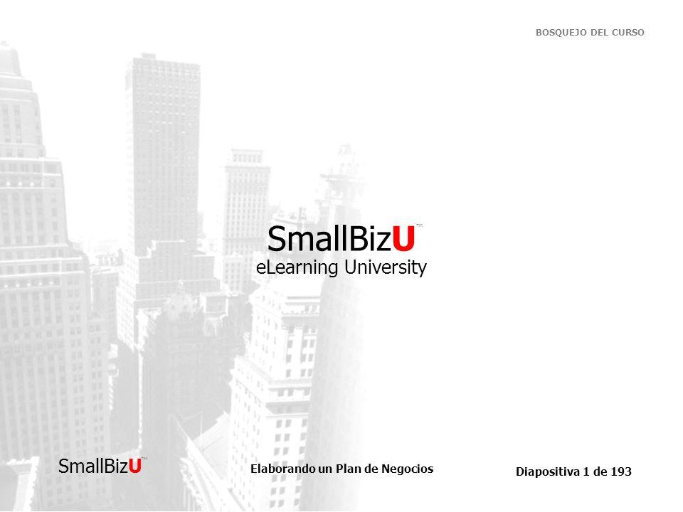 Elaborando un Plan de Negocios Diapositiva 72 de 193 SmallBizU BOSQUEJO DEL CURSO Comenzando su plan… La porción narrativa de su plan de negocios debe ilustrar la historia de su negocio de comienzo a fin.