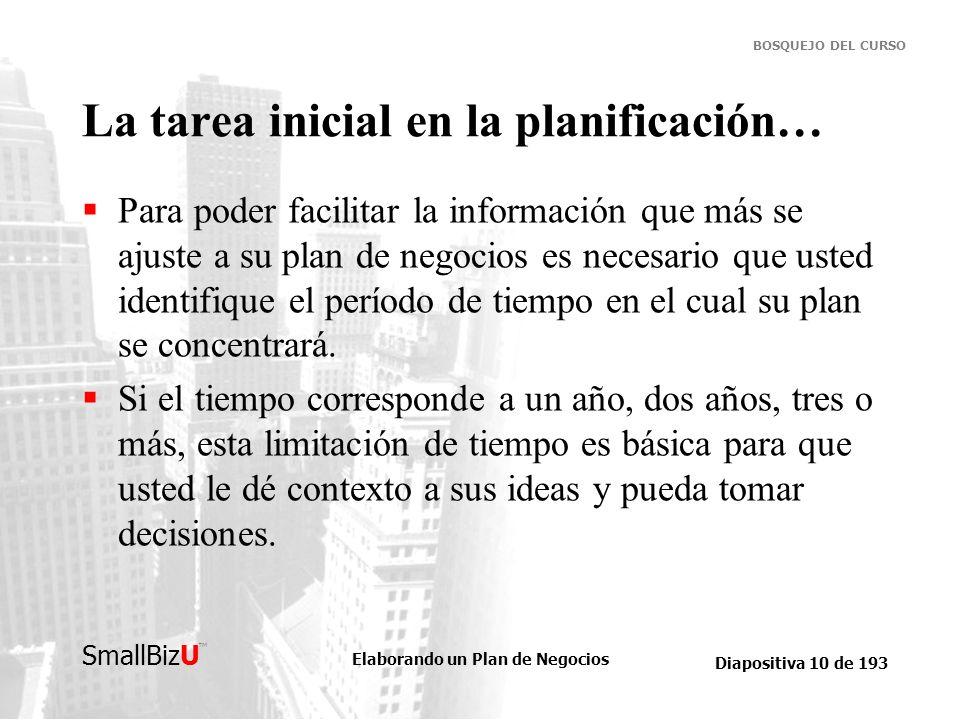 Elaborando un Plan de Negocios Diapositiva 10 de 193 SmallBizU BOSQUEJO DEL CURSO La tarea inicial en la planificación… Para poder facilitar la inform