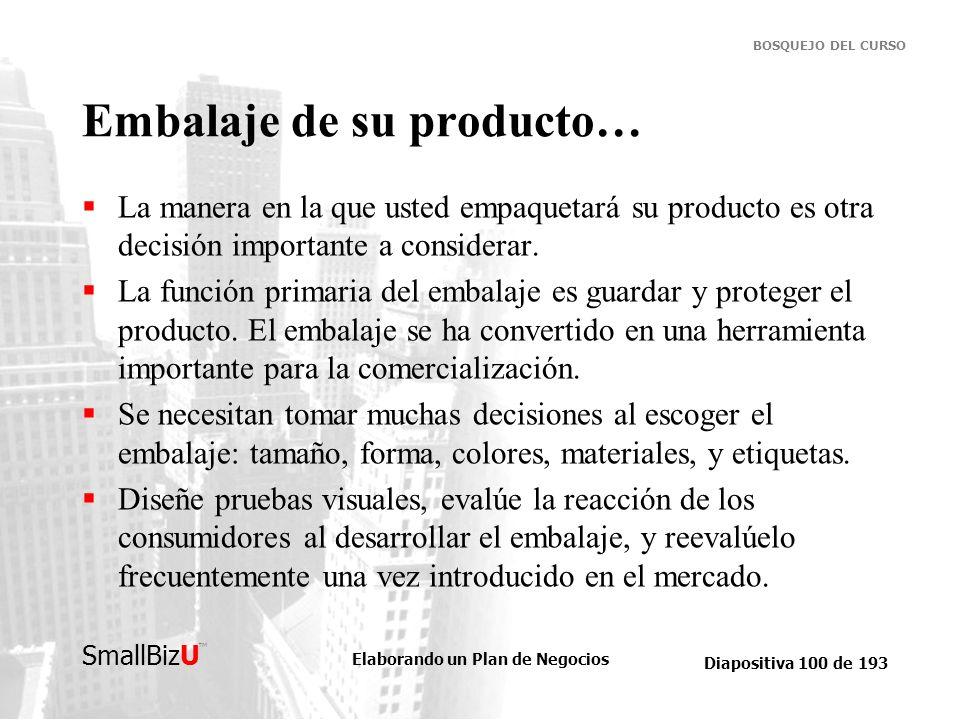 Elaborando un Plan de Negocios Diapositiva 100 de 193 SmallBizU BOSQUEJO DEL CURSO Embalaje de su producto… La manera en la que usted empaquetará su p