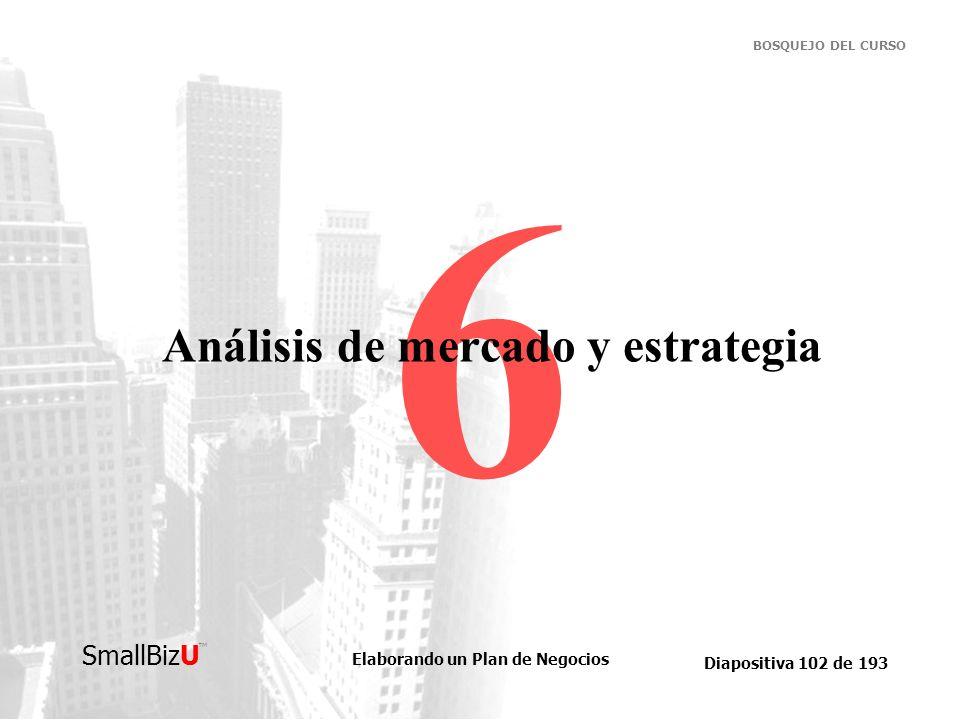 Elaborando un Plan de Negocios Diapositiva 102 de 193 SmallBizU BOSQUEJO DEL CURSO 6 Análisis de mercado y estrategia