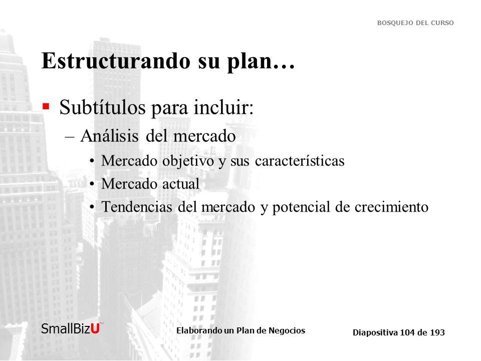 Elaborando un Plan de Negocios Diapositiva 104 de 193 SmallBizU BOSQUEJO DEL CURSO Estructurando su plan… Subtítulos para incluir: –Análisis del merca