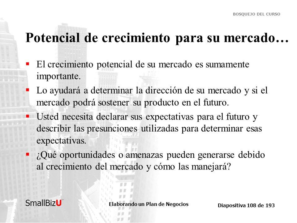 Elaborando un Plan de Negocios Diapositiva 108 de 193 SmallBizU BOSQUEJO DEL CURSO Potencial de crecimiento para su mercado… El crecimiento potencial