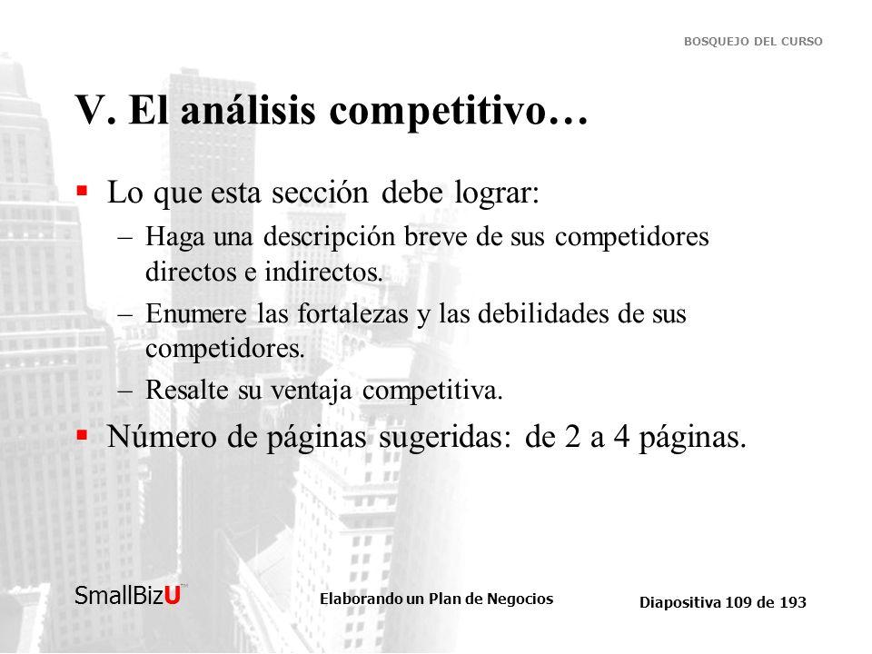Elaborando un Plan de Negocios Diapositiva 109 de 193 SmallBizU BOSQUEJO DEL CURSO V. El análisis competitivo… Lo que esta sección debe lograr: –Haga