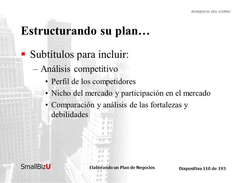 Elaborando un Plan de Negocios Diapositiva 110 de 193 SmallBizU BOSQUEJO DEL CURSO Estructurando su plan… Subtítulos para incluir: –Análisis competiti