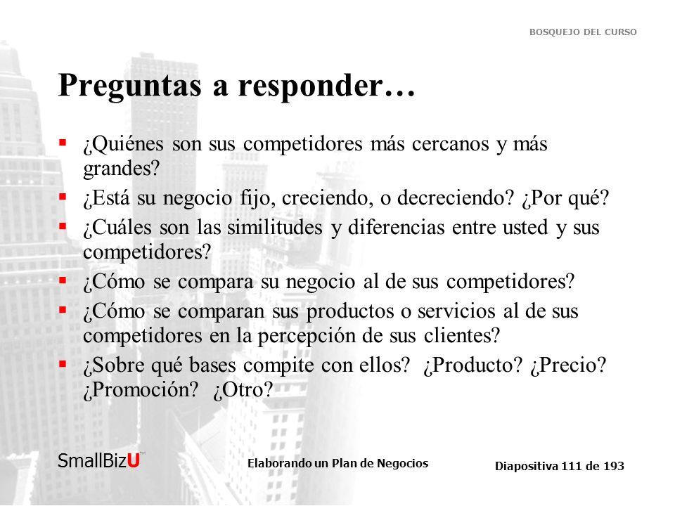 Elaborando un Plan de Negocios Diapositiva 111 de 193 SmallBizU BOSQUEJO DEL CURSO Preguntas a responder… ¿Quiénes son sus competidores más cercanos y