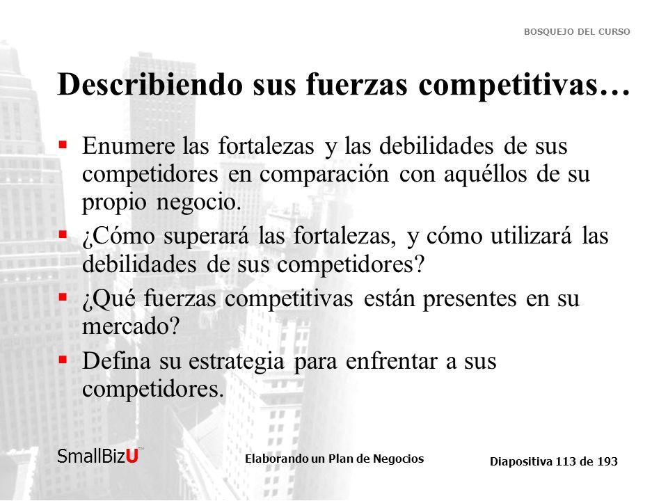 Elaborando un Plan de Negocios Diapositiva 113 de 193 SmallBizU BOSQUEJO DEL CURSO Describiendo sus fuerzas competitivas… Enumere las fortalezas y las