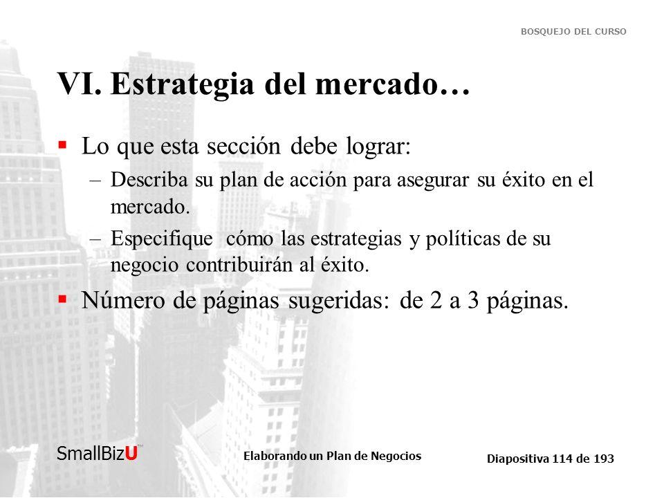 Elaborando un Plan de Negocios Diapositiva 114 de 193 SmallBizU BOSQUEJO DEL CURSO VI. Estrategia del mercado… Lo que esta sección debe lograr: –Descr