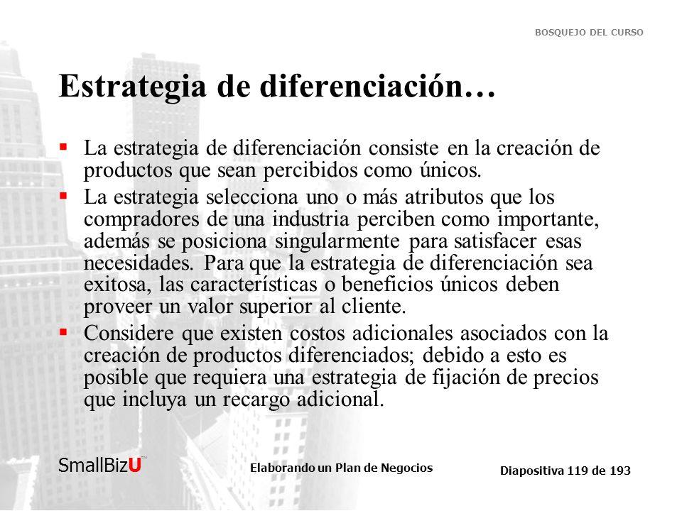 Elaborando un Plan de Negocios Diapositiva 119 de 193 SmallBizU BOSQUEJO DEL CURSO Estrategia de diferenciación… La estrategia de diferenciación consi