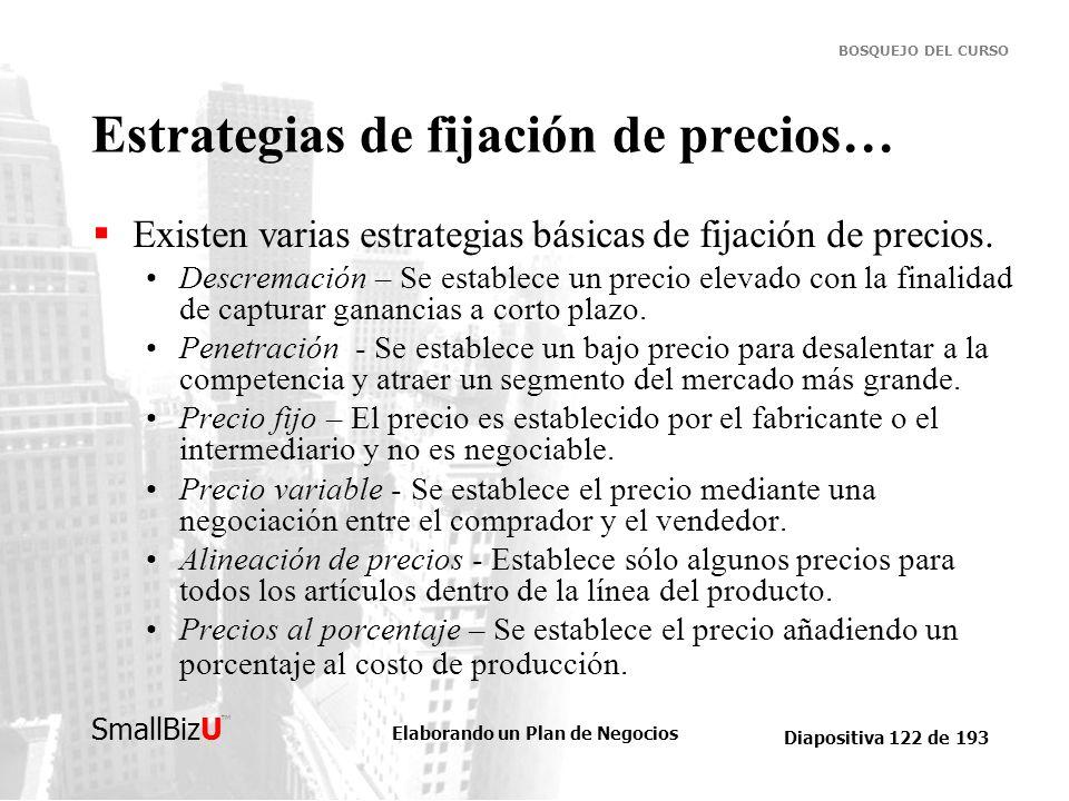 Elaborando un Plan de Negocios Diapositiva 122 de 193 SmallBizU BOSQUEJO DEL CURSO Estrategias de fijación de precios… Existen varias estrategias bási