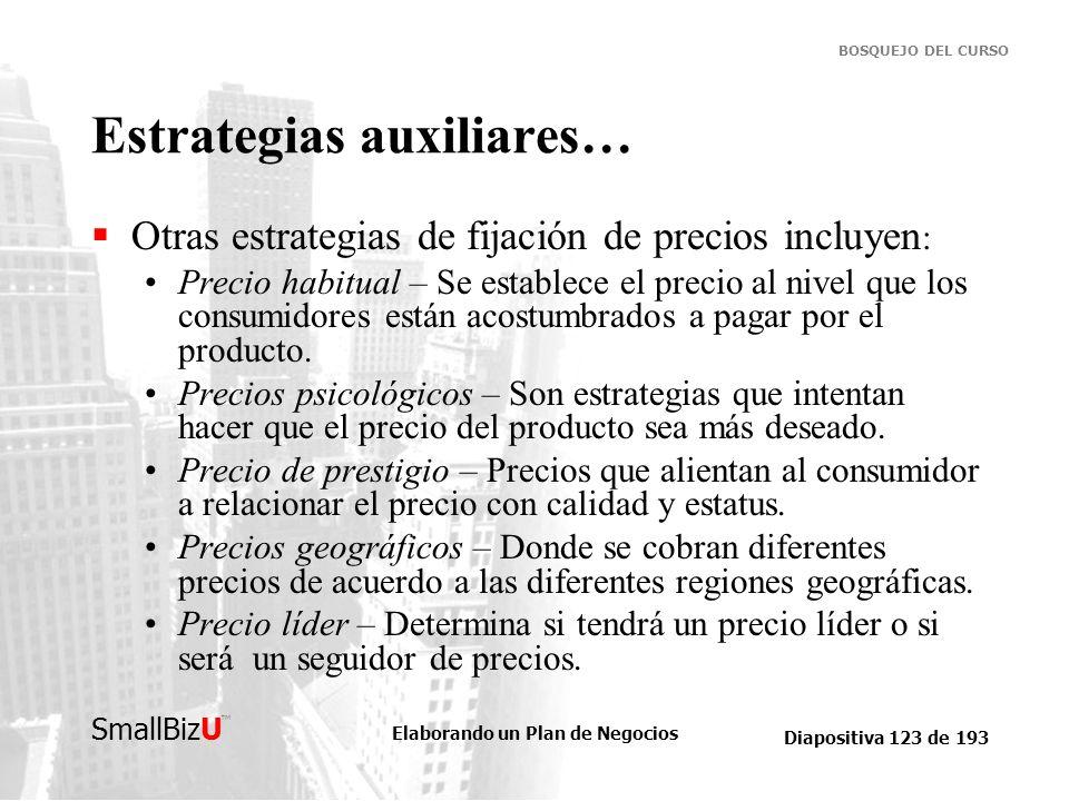 Elaborando un Plan de Negocios Diapositiva 123 de 193 SmallBizU BOSQUEJO DEL CURSO Estrategias auxiliares… Otras estrategias de fijación de precios in