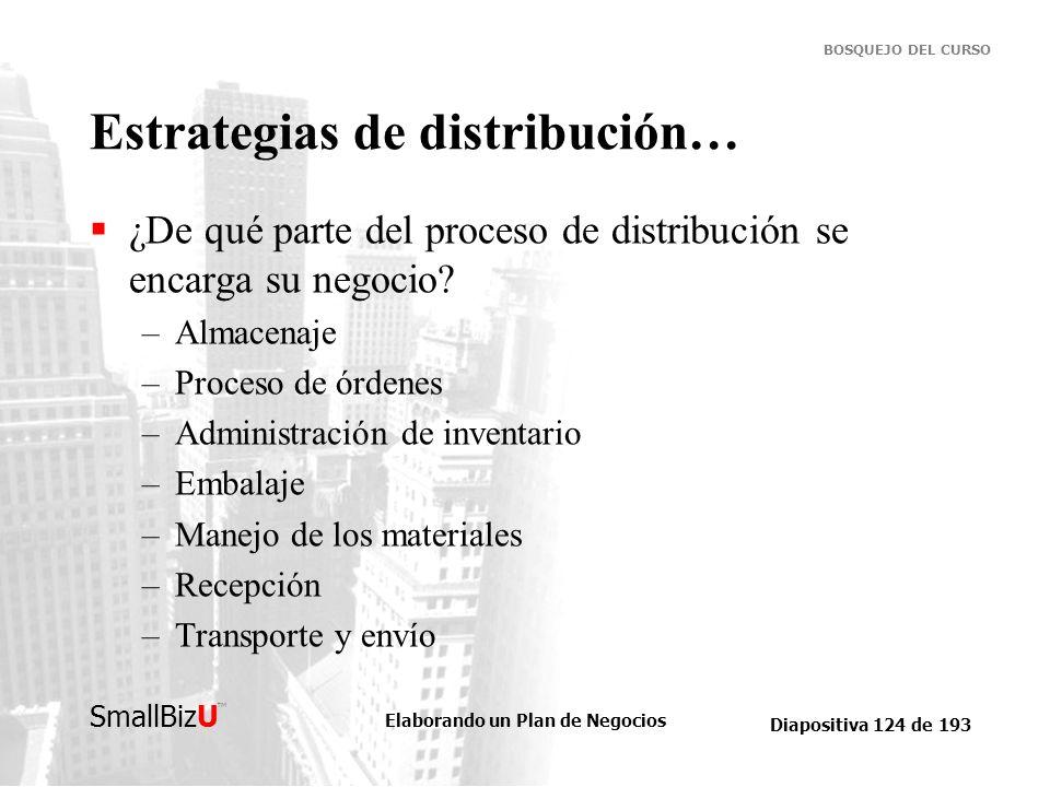 Elaborando un Plan de Negocios Diapositiva 124 de 193 SmallBizU BOSQUEJO DEL CURSO Estrategias de distribución… ¿De qué parte del proceso de distribuc