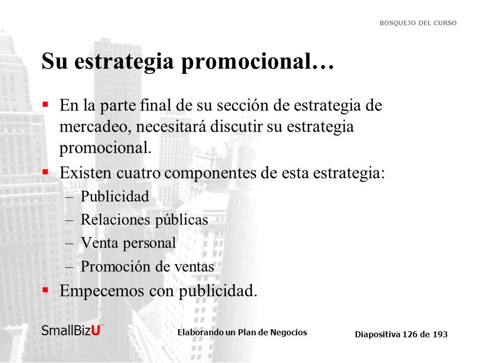Elaborando un Plan de Negocios Diapositiva 126 de 193 SmallBizU BOSQUEJO DEL CURSO Su estrategia promocional… En la parte final de su sección de estra