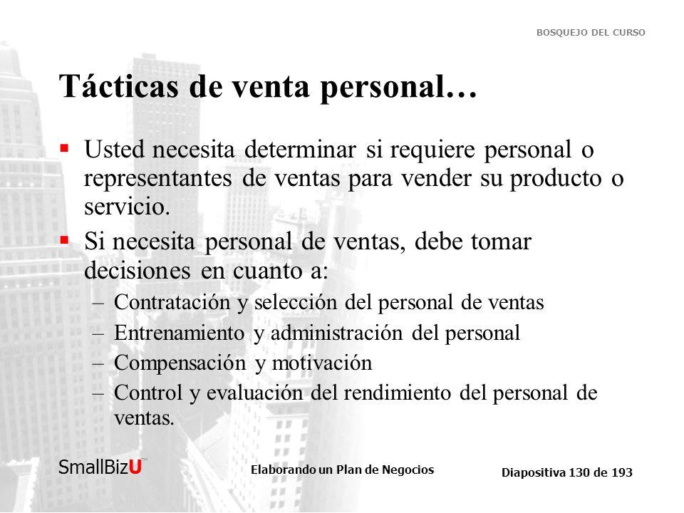 Elaborando un Plan de Negocios Diapositiva 130 de 193 SmallBizU BOSQUEJO DEL CURSO Tácticas de venta personal… Usted necesita determinar si requiere p
