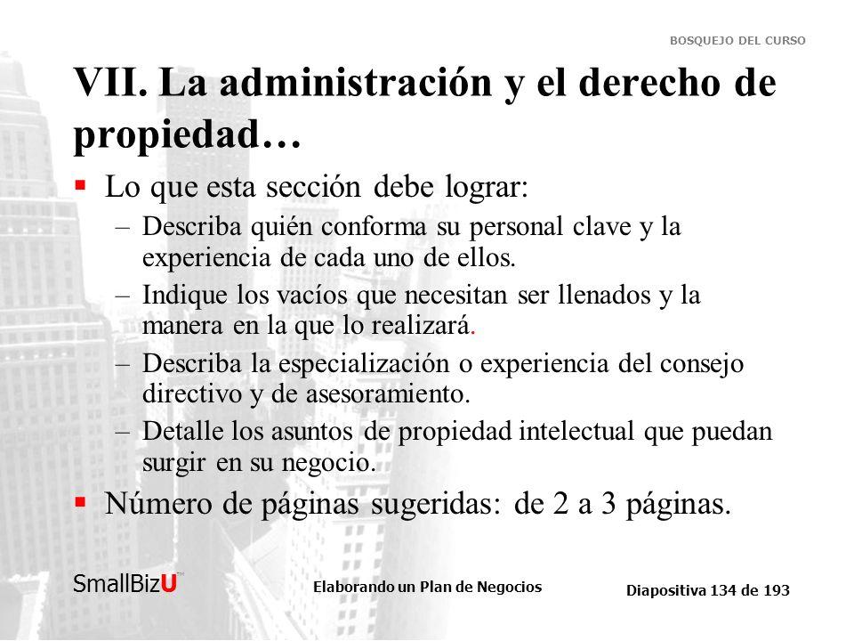 Elaborando un Plan de Negocios Diapositiva 134 de 193 SmallBizU BOSQUEJO DEL CURSO VII. La administración y el derecho de propiedad… Lo que esta secci
