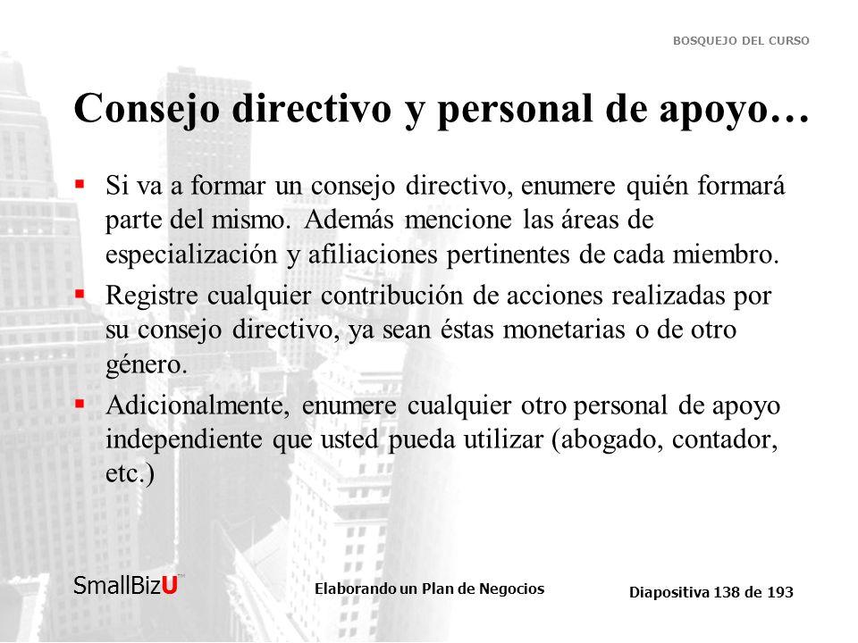 Elaborando un Plan de Negocios Diapositiva 138 de 193 SmallBizU BOSQUEJO DEL CURSO Consejo directivo y personal de apoyo… Si va a formar un consejo di