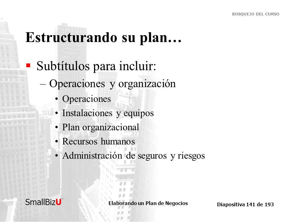 Elaborando un Plan de Negocios Diapositiva 141 de 193 SmallBizU BOSQUEJO DEL CURSO Estructurando su plan… Subtítulos para incluir: –Operaciones y orga