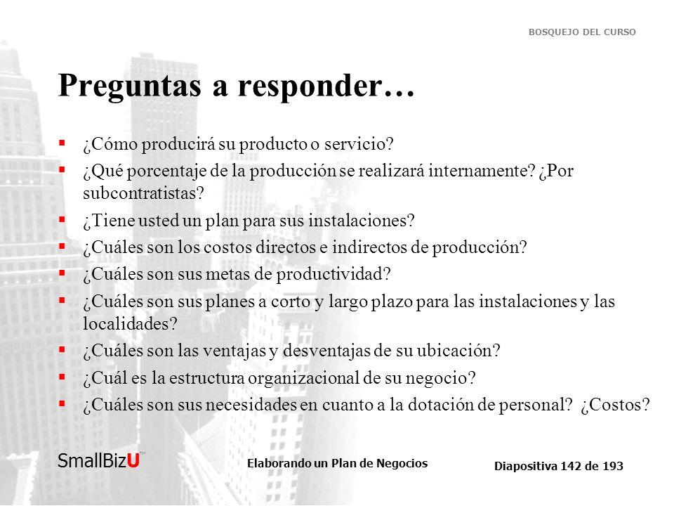 Elaborando un Plan de Negocios Diapositiva 142 de 193 SmallBizU BOSQUEJO DEL CURSO Preguntas a responder… ¿Cómo producirá su producto o servicio? ¿Qué