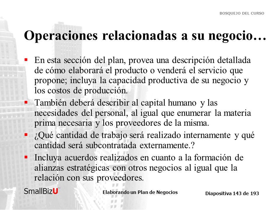 Elaborando un Plan de Negocios Diapositiva 143 de 193 SmallBizU BOSQUEJO DEL CURSO Operaciones relacionadas a su negocio… En esta sección del plan, pr