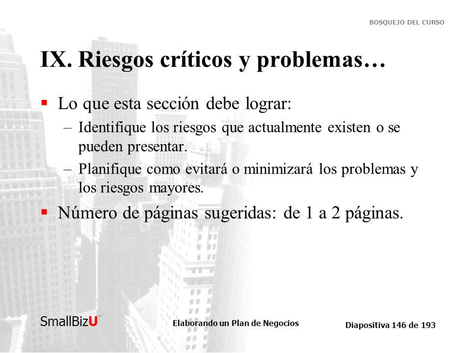 Elaborando un Plan de Negocios Diapositiva 146 de 193 SmallBizU BOSQUEJO DEL CURSO IX. Riesgos críticos y problemas… Lo que esta sección debe lograr: