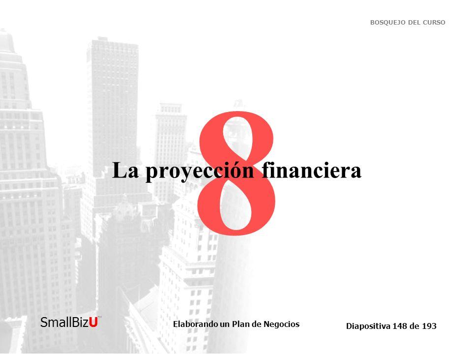 Elaborando un Plan de Negocios Diapositiva 148 de 193 SmallBizU BOSQUEJO DEL CURSO 8 La proyección financiera