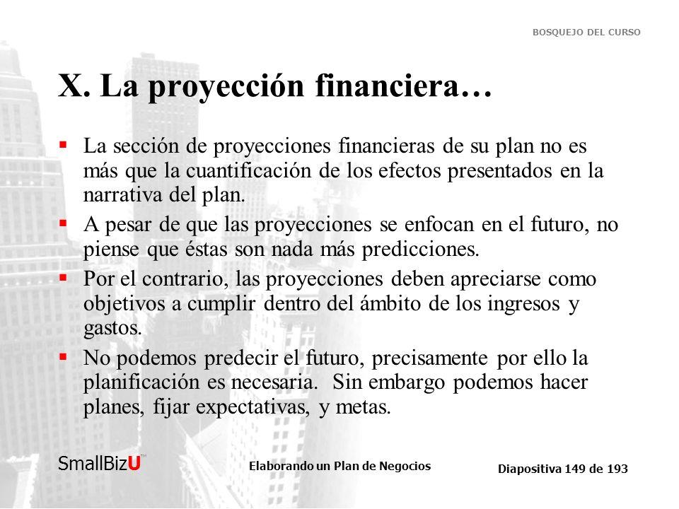 Elaborando un Plan de Negocios Diapositiva 149 de 193 SmallBizU BOSQUEJO DEL CURSO X. La proyección financiera… La sección de proyecciones financieras