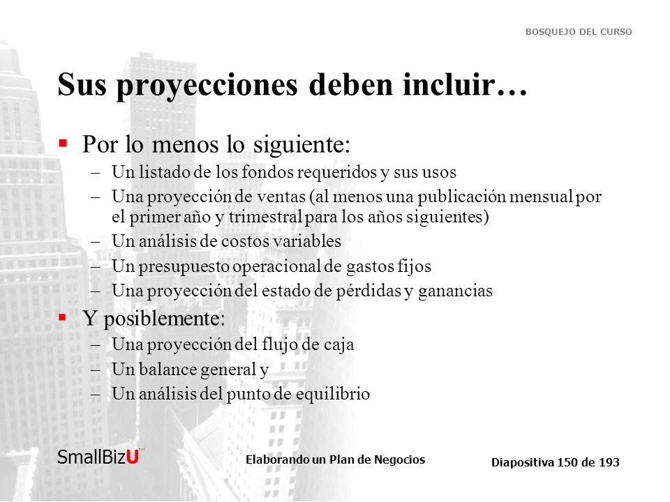 Elaborando un Plan de Negocios Diapositiva 150 de 193 SmallBizU BOSQUEJO DEL CURSO Sus proyecciones deben incluir… Por lo menos lo siguiente: –Un list