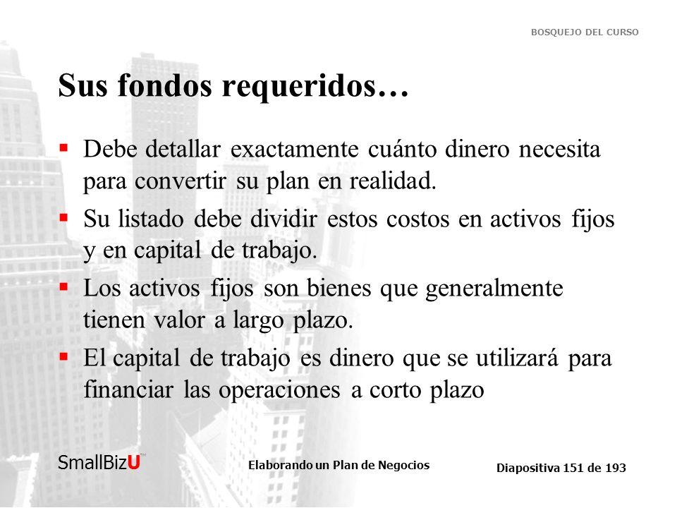 Elaborando un Plan de Negocios Diapositiva 151 de 193 SmallBizU BOSQUEJO DEL CURSO Sus fondos requeridos… Debe detallar exactamente cuánto dinero nece