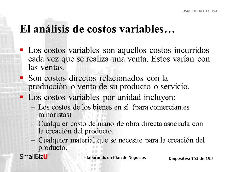 Elaborando un Plan de Negocios Diapositiva 153 de 193 SmallBizU BOSQUEJO DEL CURSO El análisis de costos variables… Los costos variables son aquellos