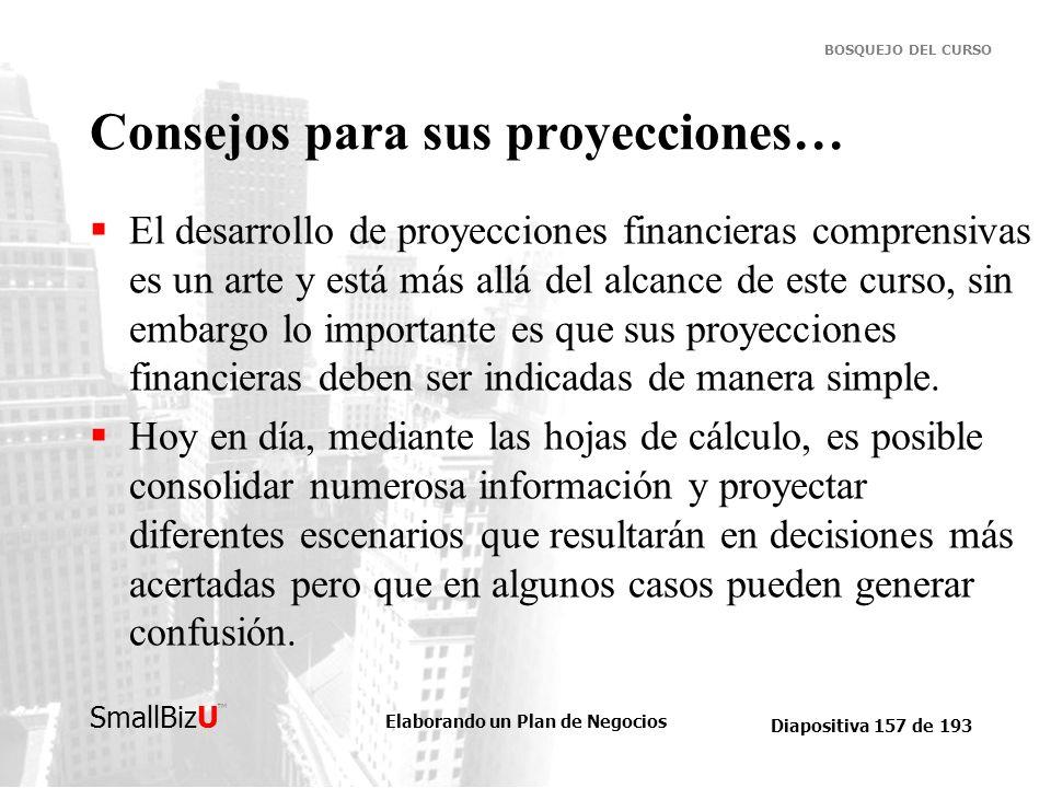 Elaborando un Plan de Negocios Diapositiva 157 de 193 SmallBizU BOSQUEJO DEL CURSO Consejos para sus proyecciones… El desarrollo de proyecciones finan