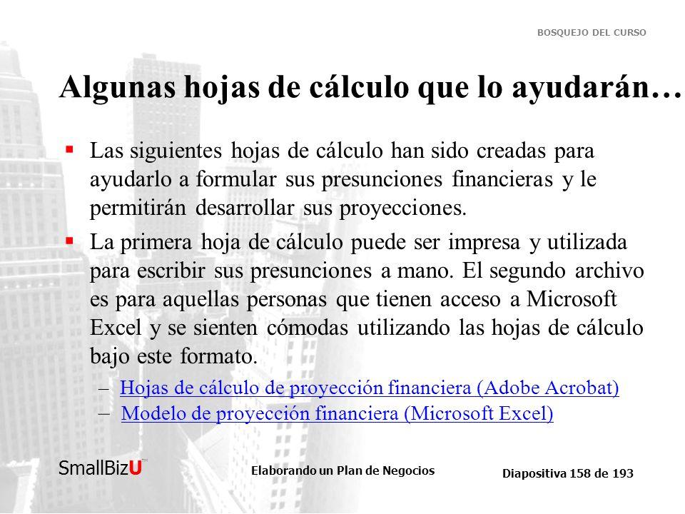 Elaborando un Plan de Negocios Diapositiva 158 de 193 SmallBizU BOSQUEJO DEL CURSO Algunas hojas de cálculo que lo ayudarán… Las siguientes hojas de c