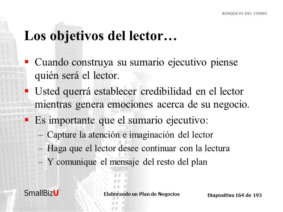Elaborando un Plan de Negocios Diapositiva 164 de 193 SmallBizU BOSQUEJO DEL CURSO Los objetivos del lector… Cuando construya su sumario ejecutivo pie