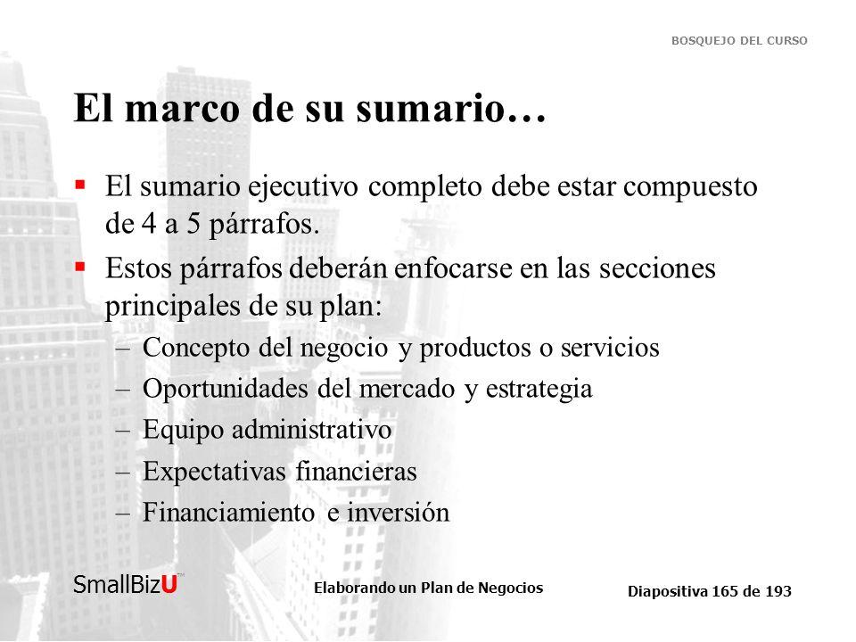 Elaborando un Plan de Negocios Diapositiva 165 de 193 SmallBizU BOSQUEJO DEL CURSO El marco de su sumario… El sumario ejecutivo completo debe estar co