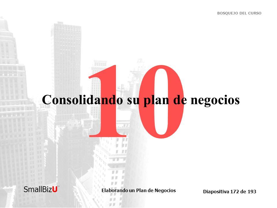 Elaborando un Plan de Negocios Diapositiva 172 de 193 SmallBizU BOSQUEJO DEL CURSO 10 Consolidando su plan de negocios