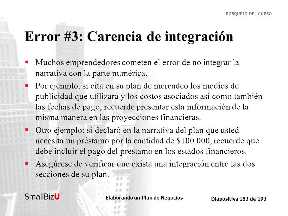 Elaborando un Plan de Negocios Diapositiva 183 de 193 SmallBizU BOSQUEJO DEL CURSO Error #3: Carencia de integración Muchos emprendedores cometen el e