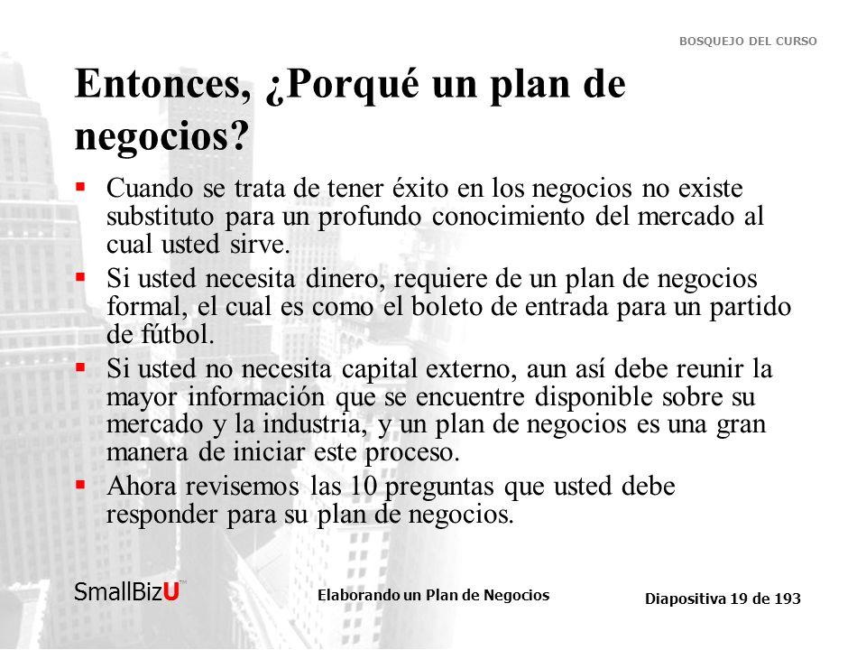 Elaborando un Plan de Negocios Diapositiva 19 de 193 SmallBizU BOSQUEJO DEL CURSO Entonces, ¿Porqué un plan de negocios? Cuando se trata de tener éxit