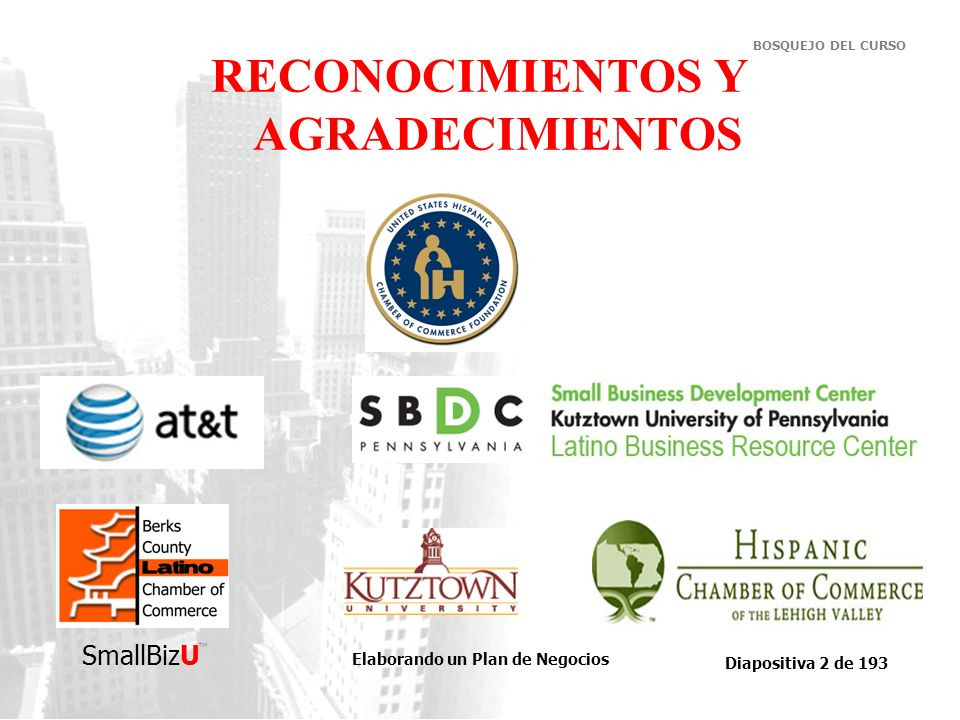 Elaborando un Plan de Negocios Diapositiva 193 de 193 SmallBizU BOSQUEJO DEL CURSO Cualquier comentario o sugerencia, por favor contáctenos –Econ.