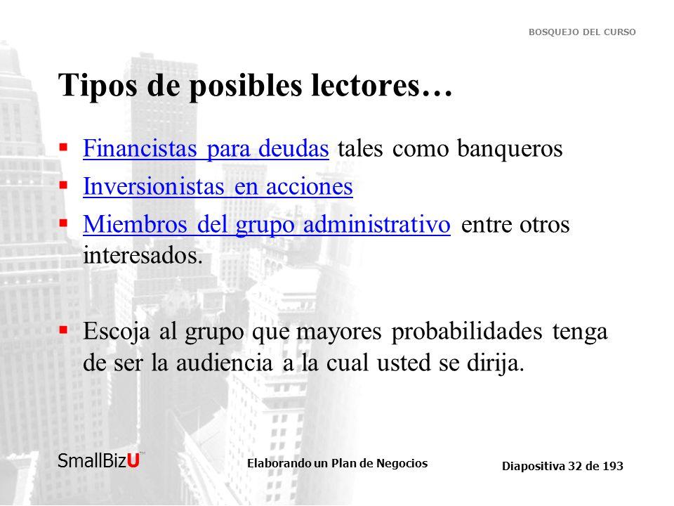 Elaborando un Plan de Negocios Diapositiva 32 de 193 SmallBizU BOSQUEJO DEL CURSO Tipos de posibles lectores… Financistas para deudas tales como banqu