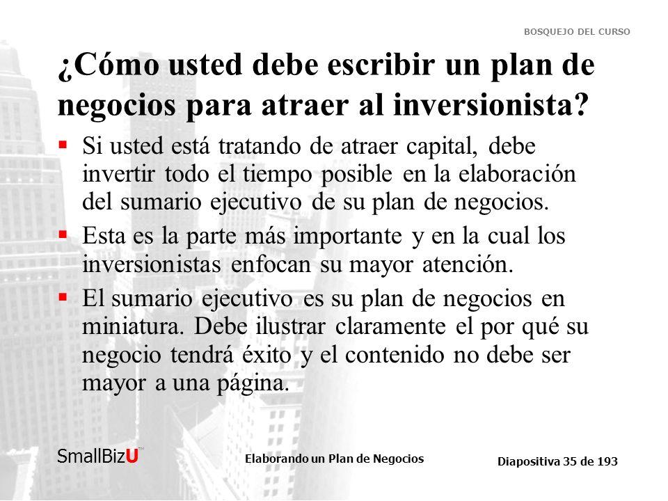 Elaborando un Plan de Negocios Diapositiva 35 de 193 SmallBizU BOSQUEJO DEL CURSO ¿Cómo usted debe escribir un plan de negocios para atraer al inversi