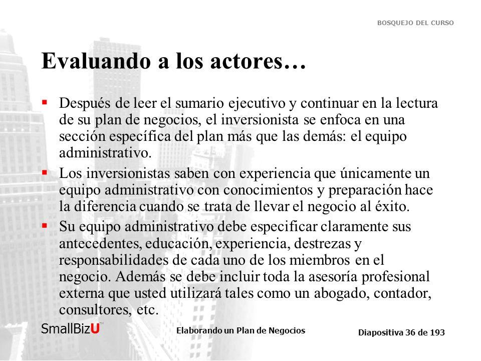 Elaborando un Plan de Negocios Diapositiva 36 de 193 SmallBizU BOSQUEJO DEL CURSO Evaluando a los actores… Después de leer el sumario ejecutivo y cont