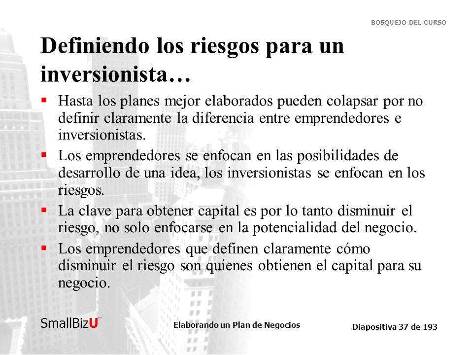 Elaborando un Plan de Negocios Diapositiva 37 de 193 SmallBizU BOSQUEJO DEL CURSO Definiendo los riesgos para un inversionista… Hasta los planes mejor