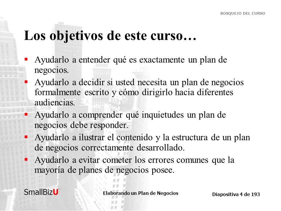 Elaborando un Plan de Negocios Diapositiva 4 de 193 SmallBizU BOSQUEJO DEL CURSO Los objetivos de este curso… Ayudarlo a entender qué es exactamente u